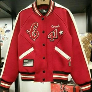 Coach Red Wool Varsity Patches Jacket